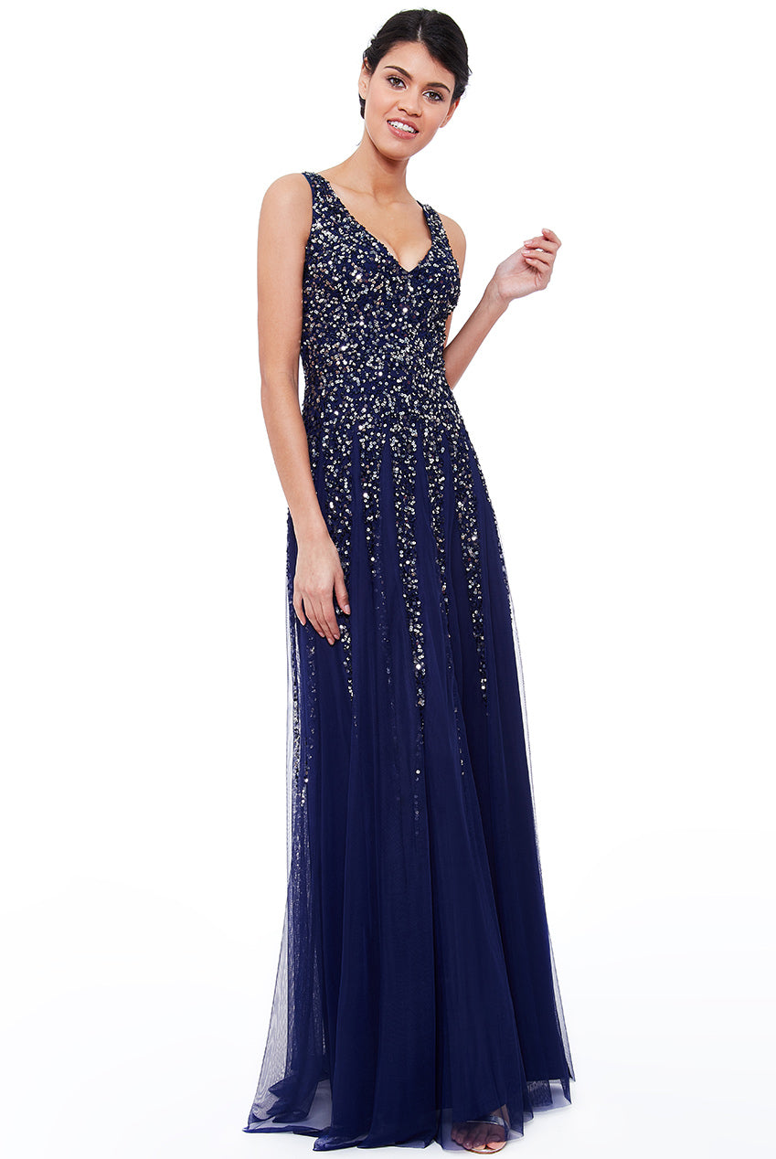 Navy Sunray Sequin Sequin Gown