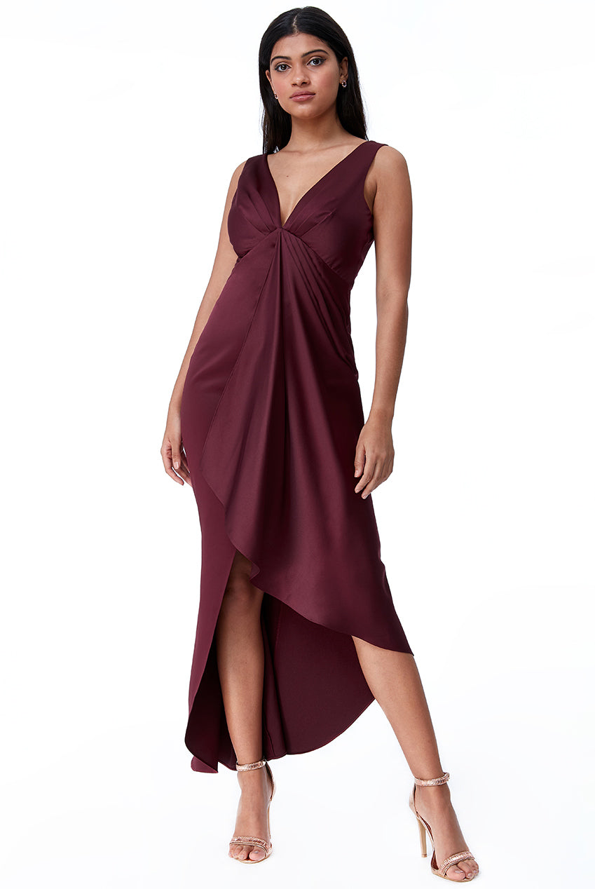 Wine Waterfall Effect Evening Dress