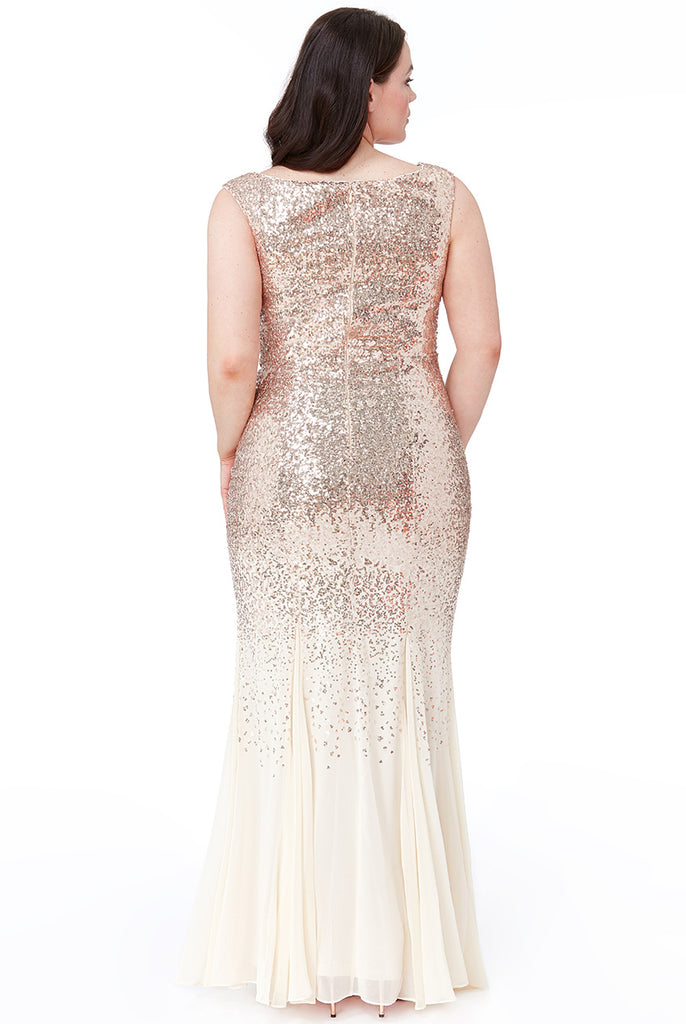 Plus Size Champagne Sequin & Chiffon Evening Gown - Gissings Boutique