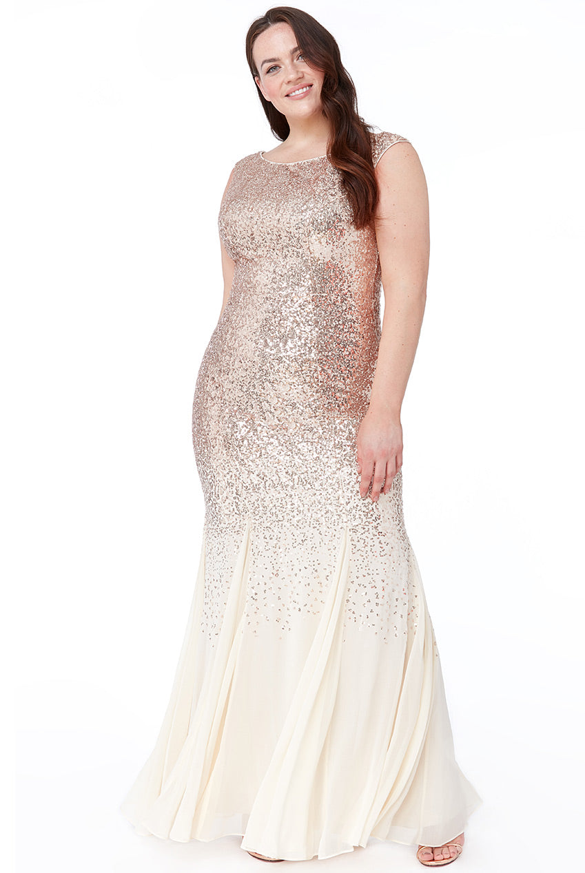 Plus Size Champagne Sequin & Chiffon Evening Gown