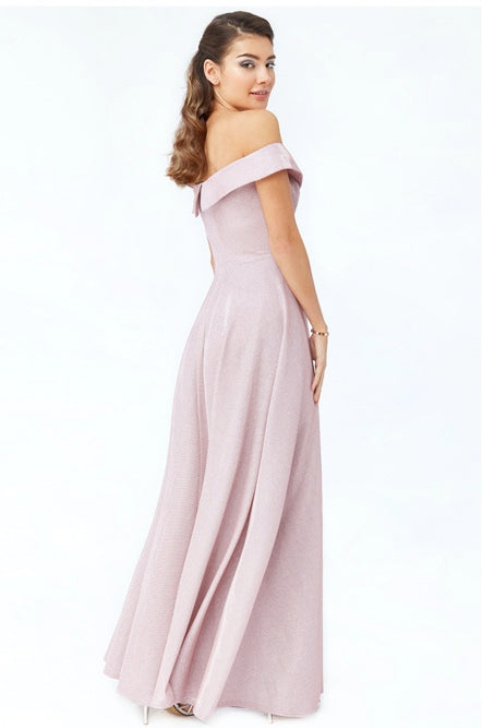 Blush Bardot Glitter Evening Gown - Gissings Boutique