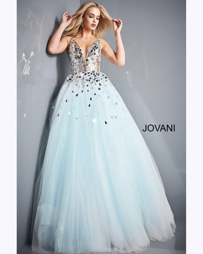Jovani Light Blue Cut Glass Prom Gown - Gissings Boutique