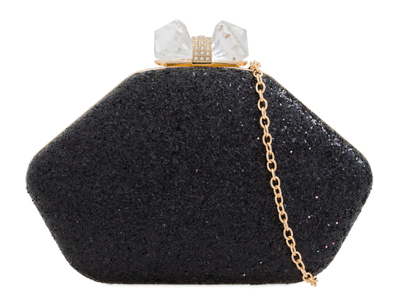 Black Glitter Clutch Bag - Gissings Boutique