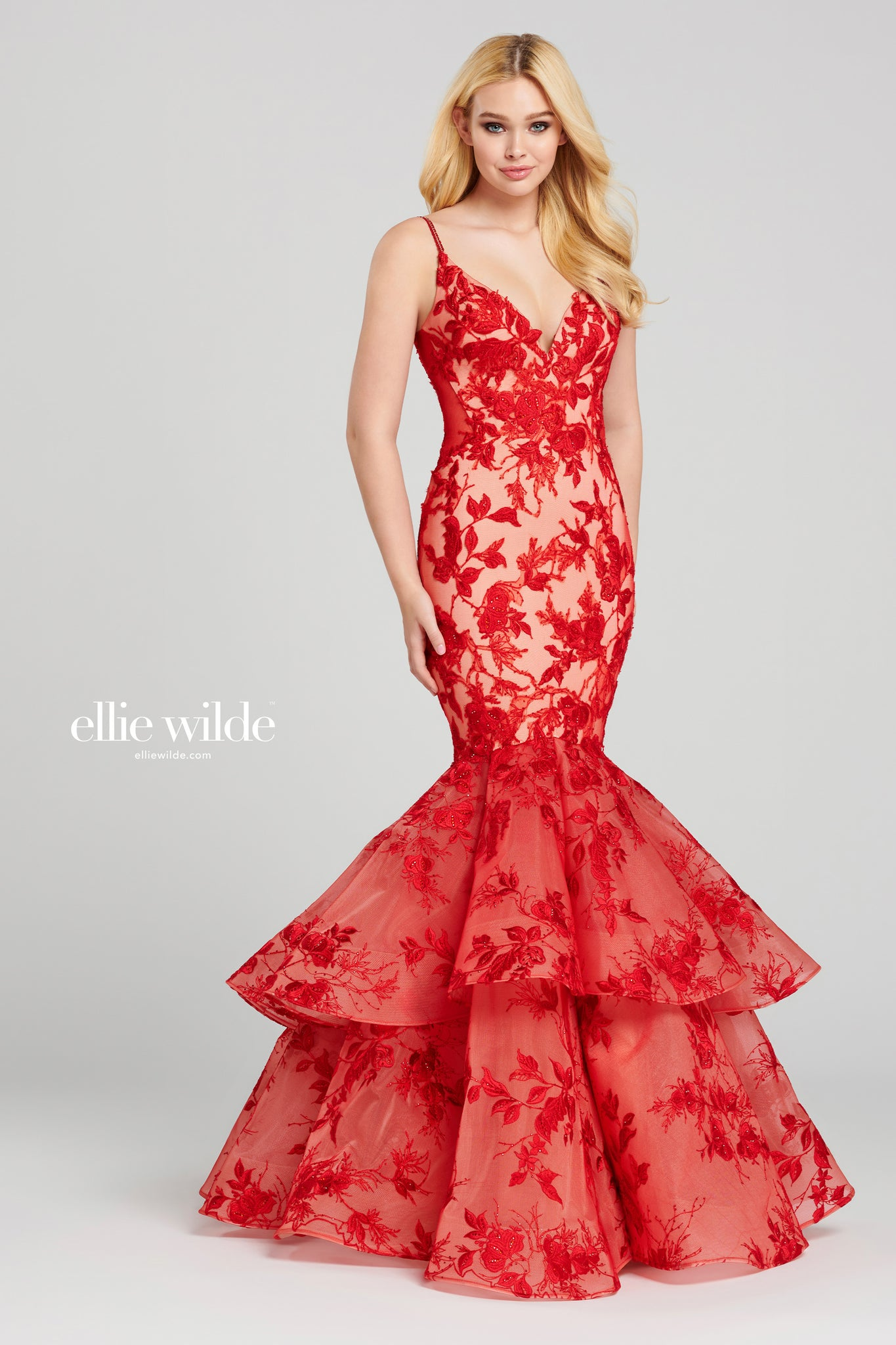 Ellie Wilde Red Mermaid Prom & Pageant Dress - Gissings Boutique