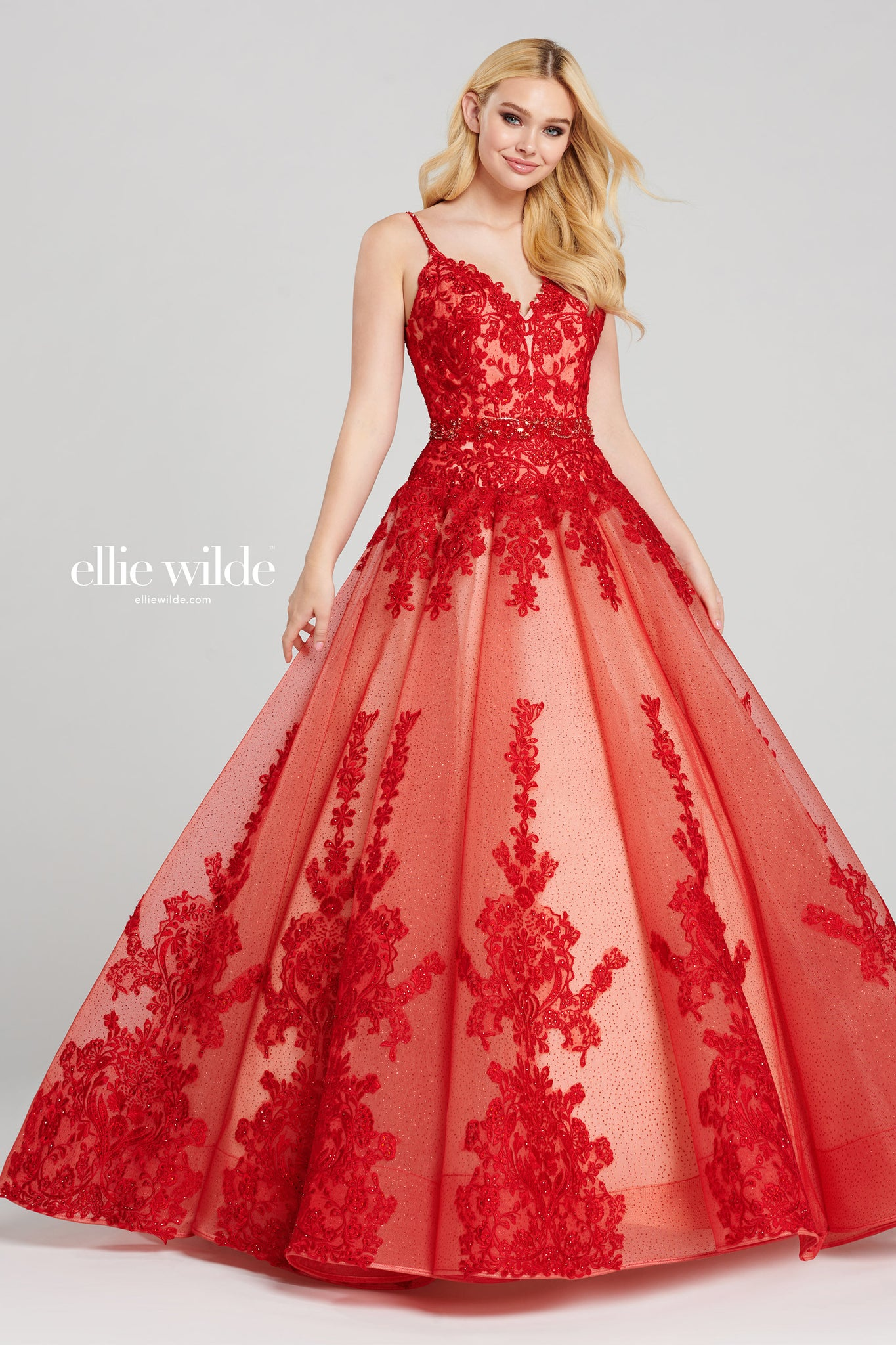 Ellie Wilde Red Lace Ball Gown