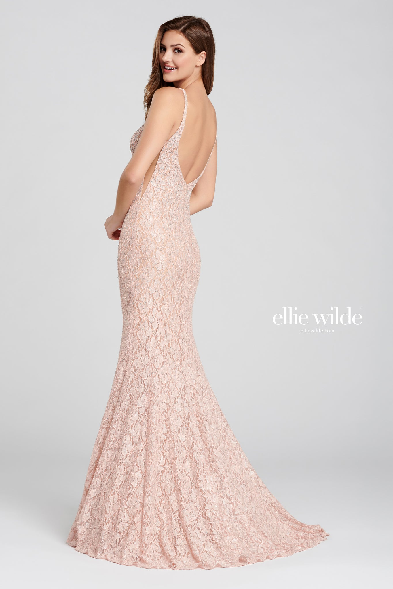 Ellie Wilde Pink Lace Evening Gown
