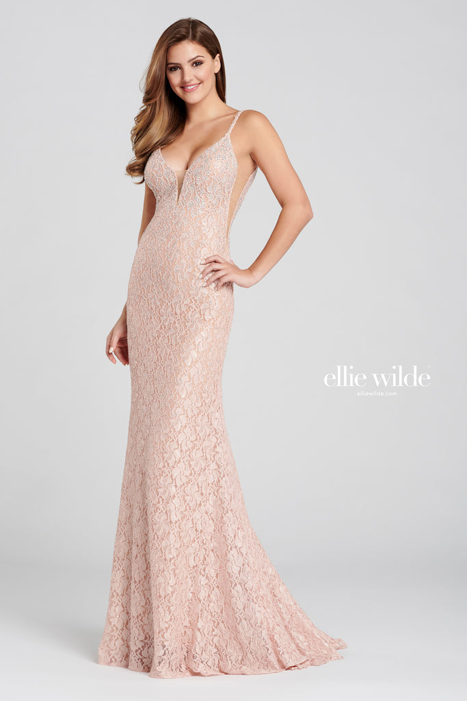 Ellie Wilde Pink Lace Evening Gown - Gissings Boutique
