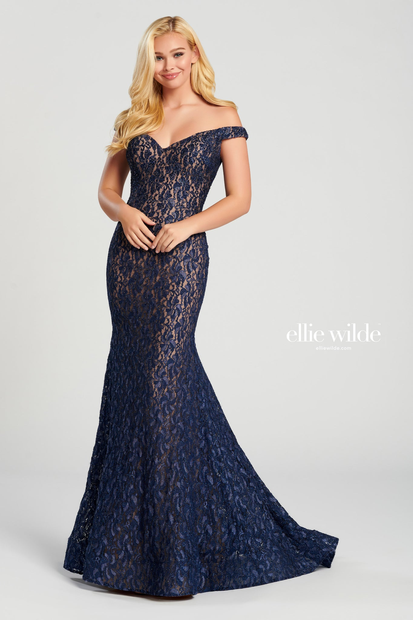 Ellie Wilde Navy Lace Evening Gown - Gissings Boutique