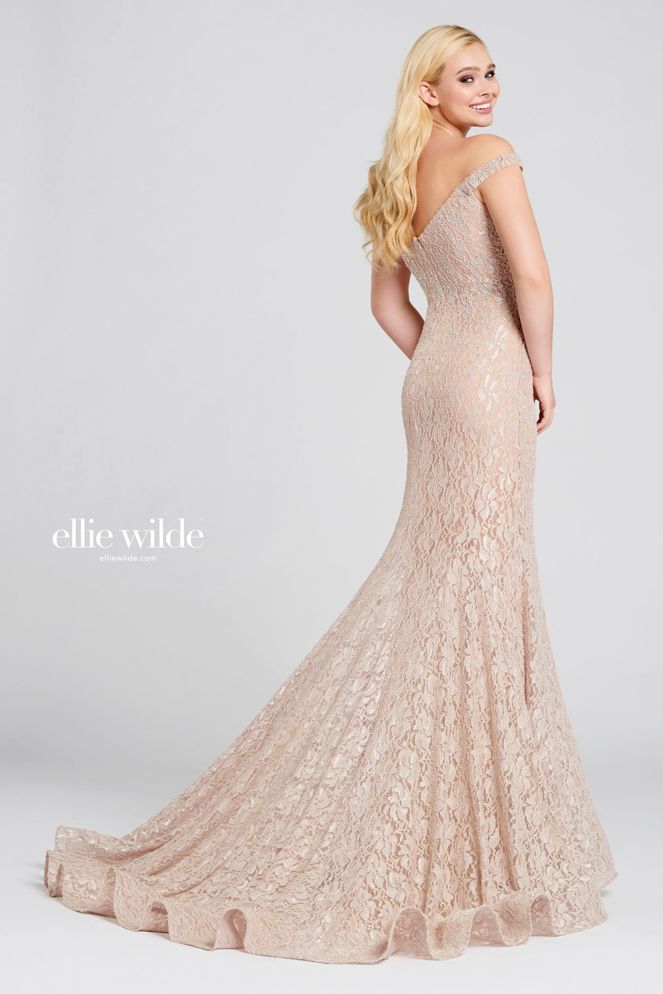 Ellie Wilde Sand Lace Evening Gown - Gissings Boutique