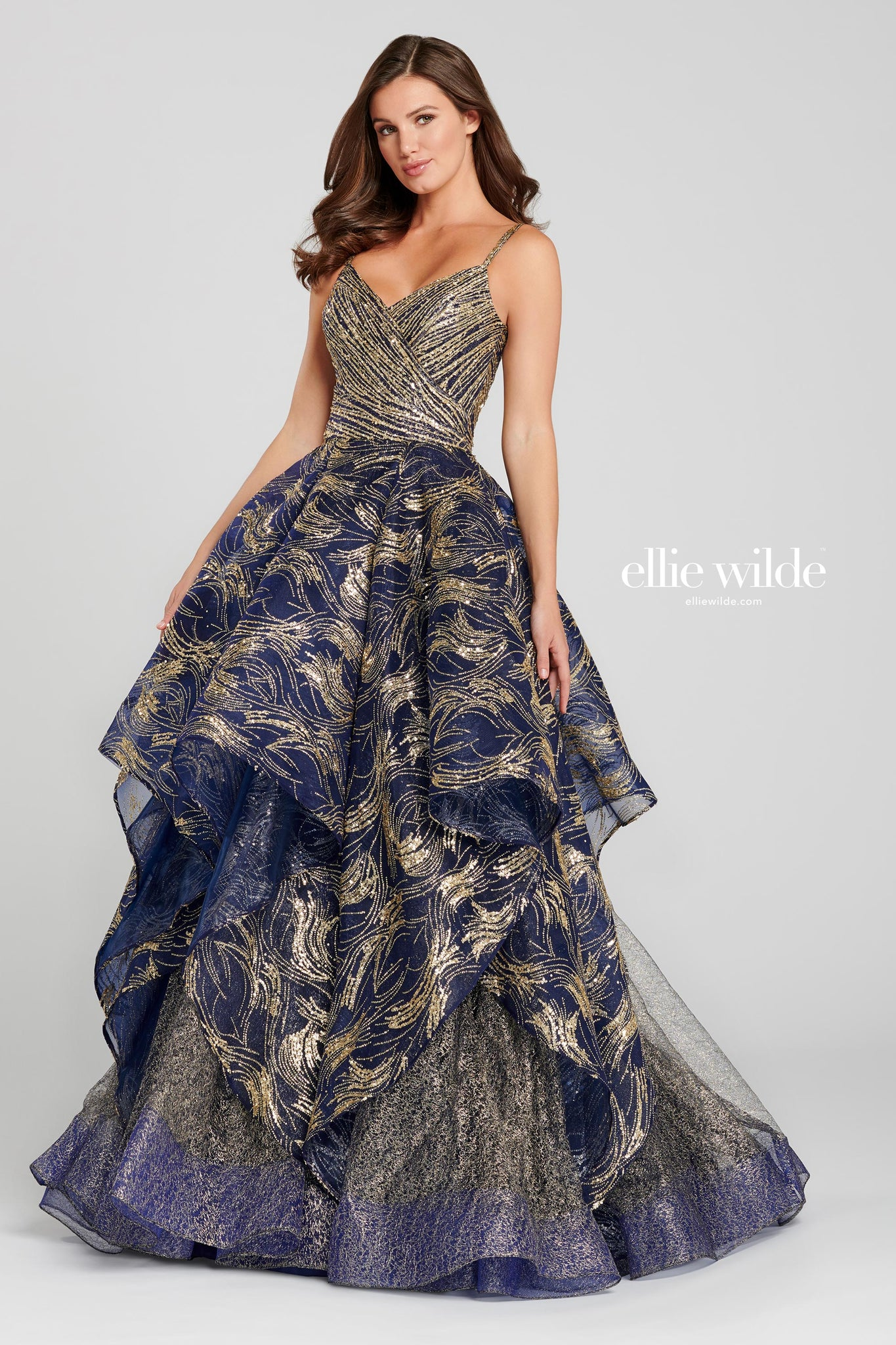 Ellie Wilde Navy & Gold Ball Gown - Gissings Boutique