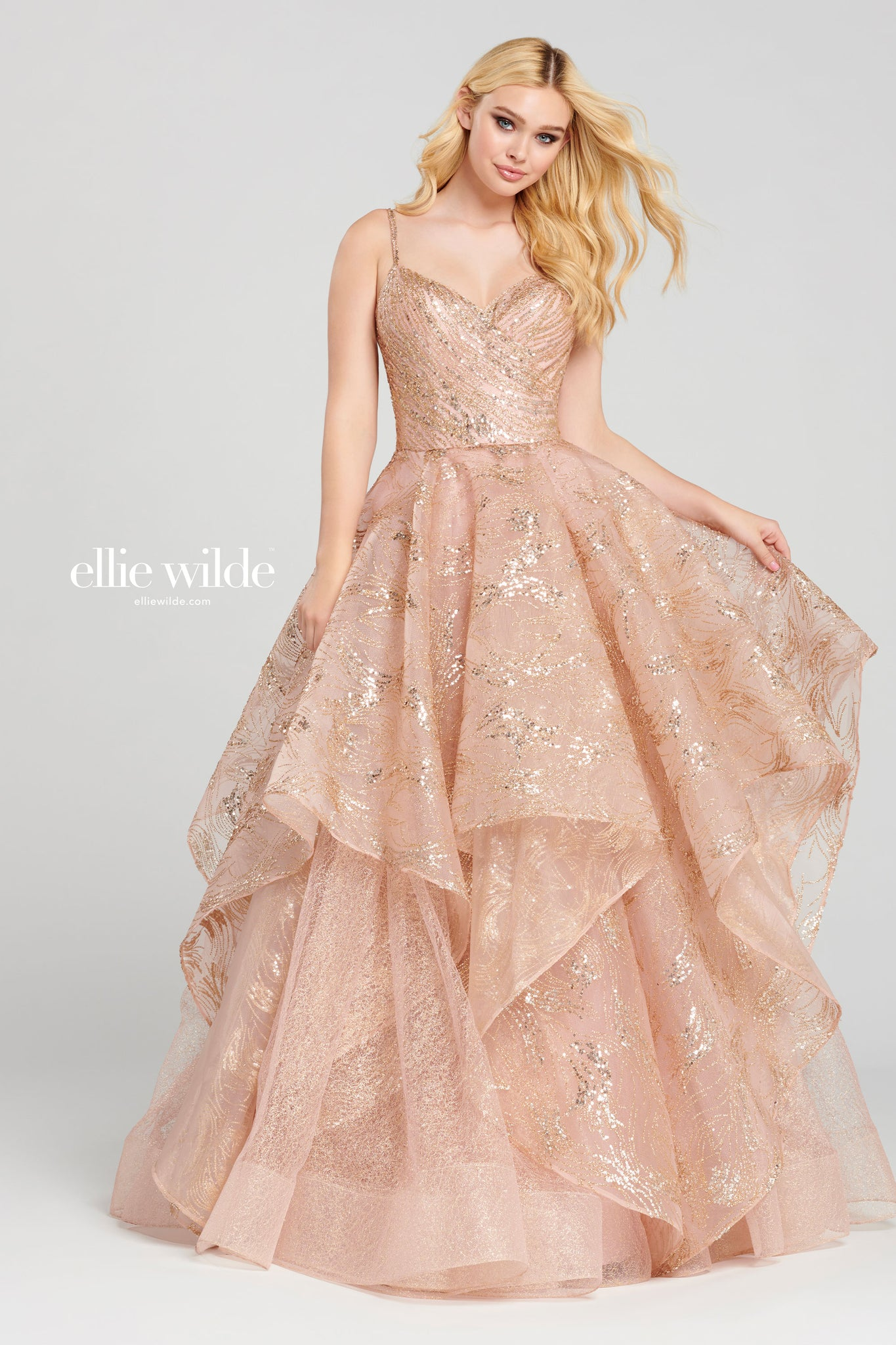 Ellie Wilde Rose Gold Ball Gown - Gissings Boutique