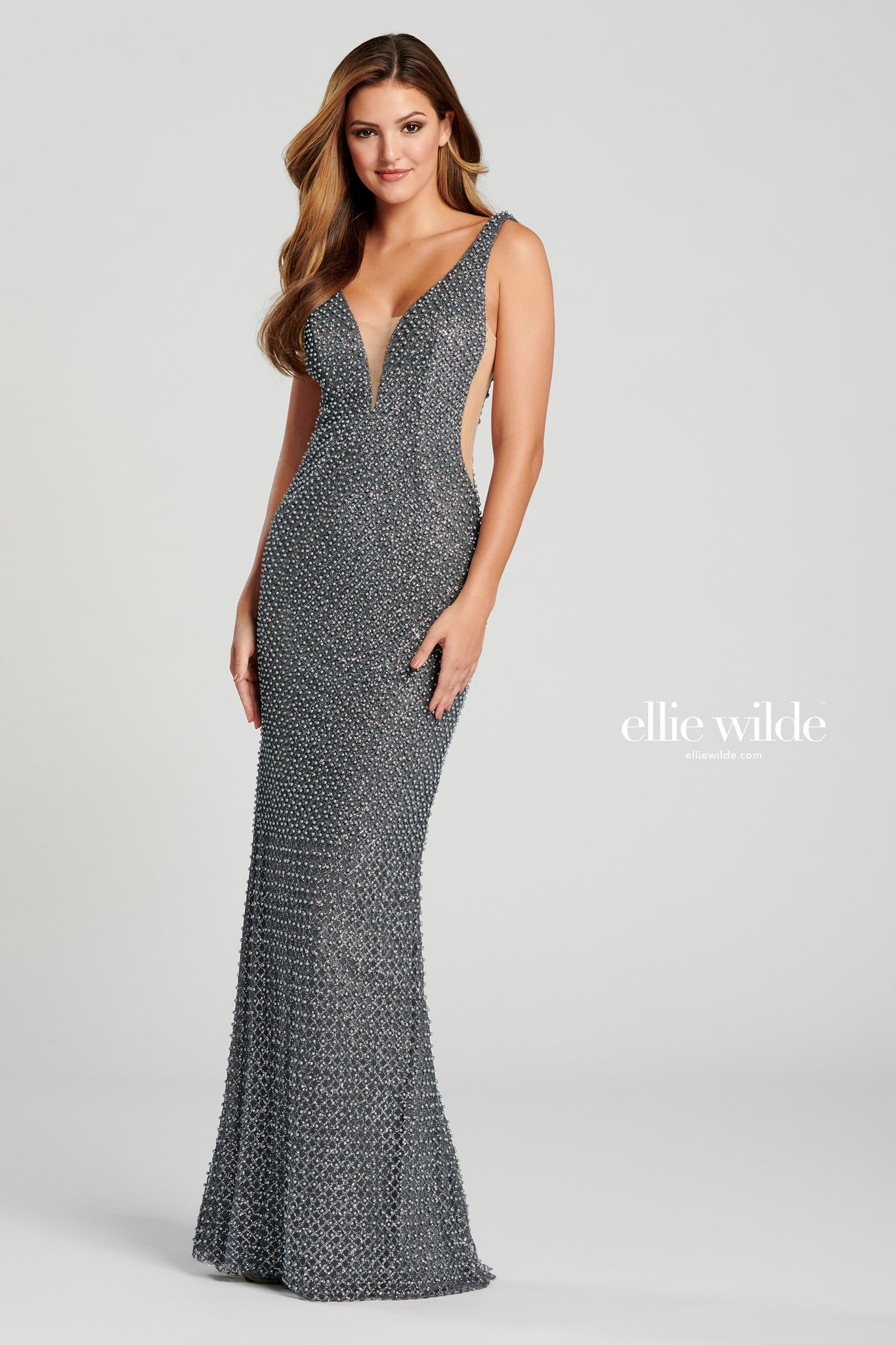 Ellie Wilde Gunmetal Pearl Embellished Evening Gown