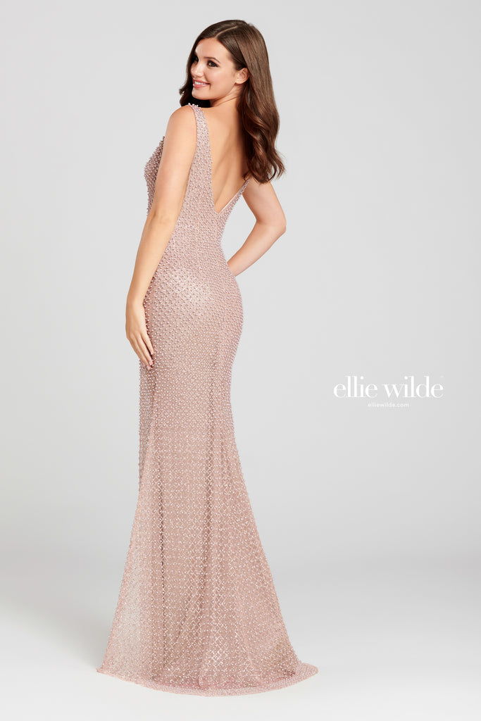 Ellie Wilde Pink Pearl Embellished Evening Gown - Gissings Boutique