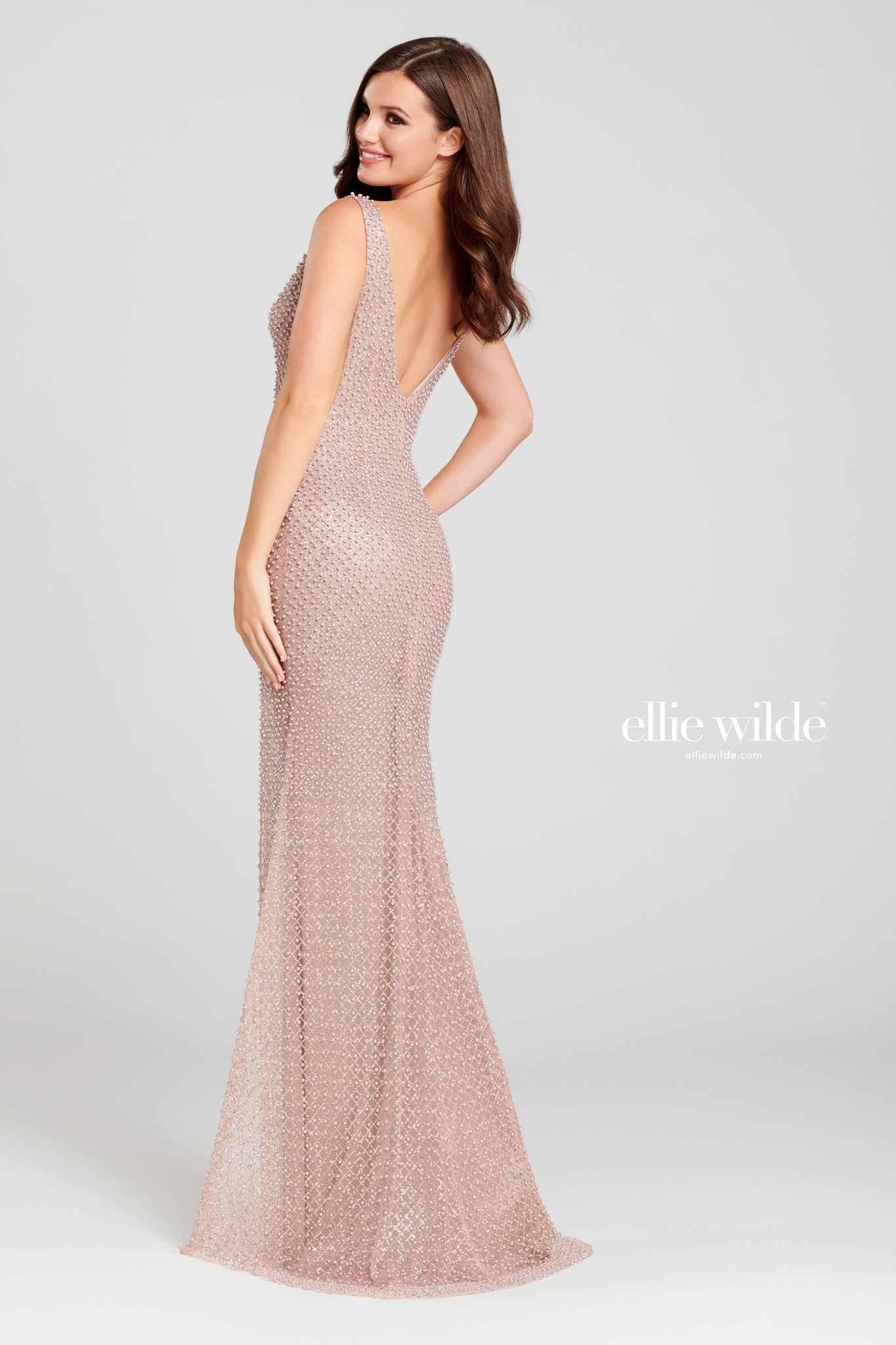 Ellie Wilde Pink Pearl Embellished Evening Gown