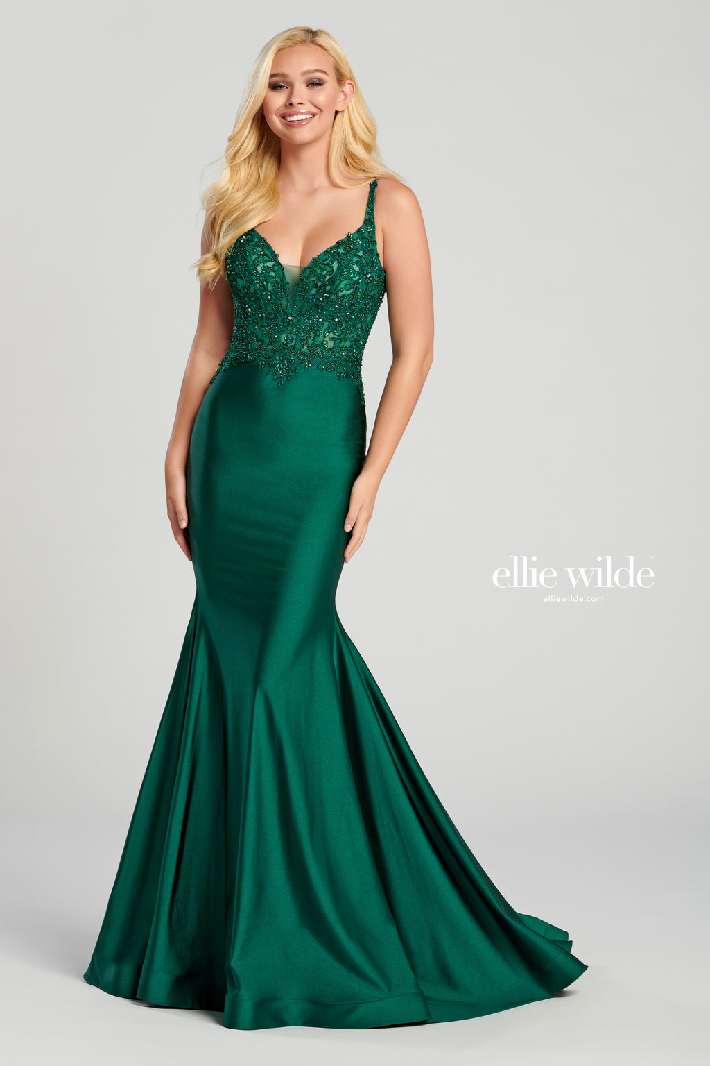 Ellie Wilde Emerald Satin Evening Gown - Gissings Boutique