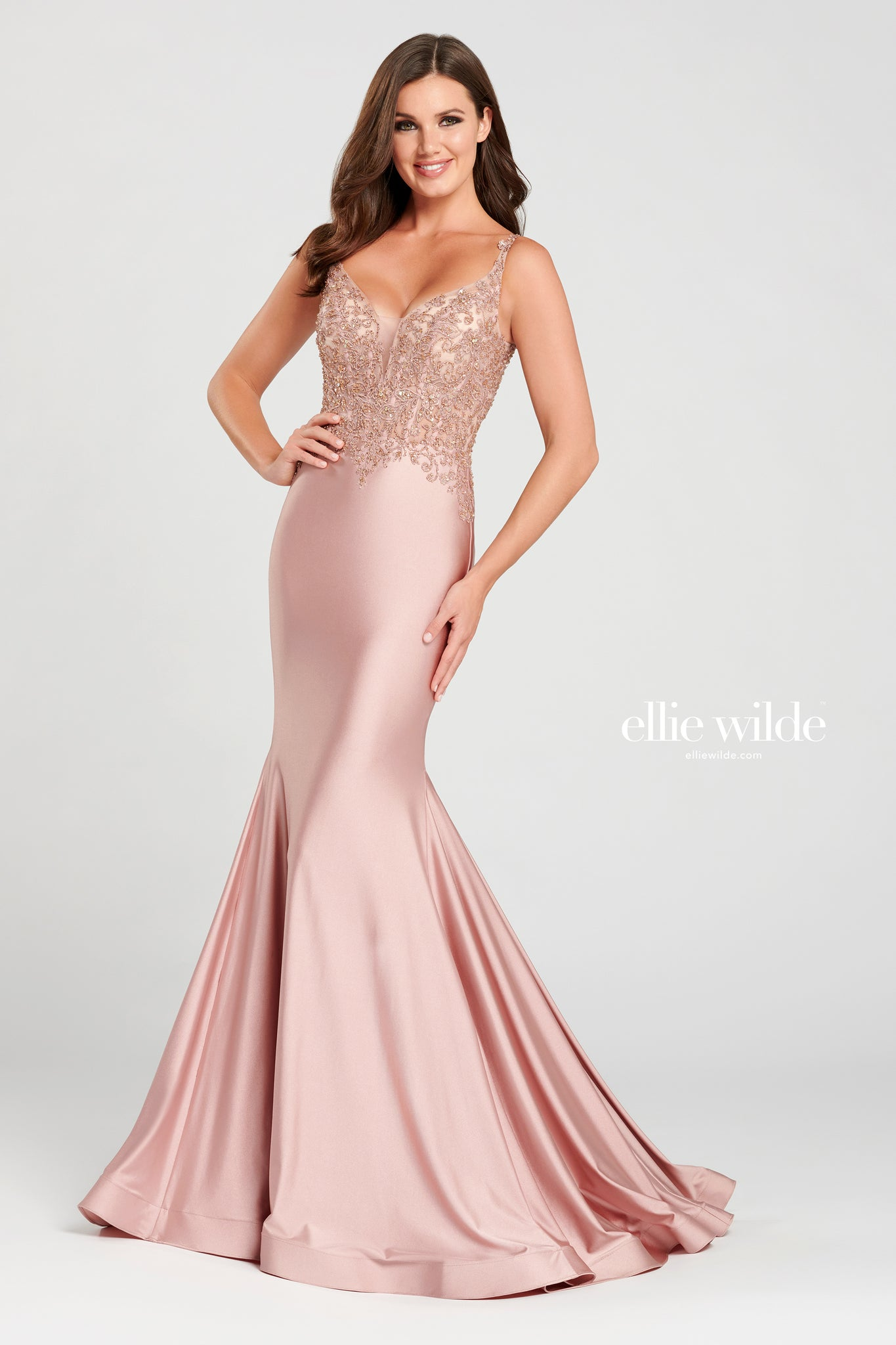 Ellie Wilde Rose Satin Evening Gown - Gissings Boutique