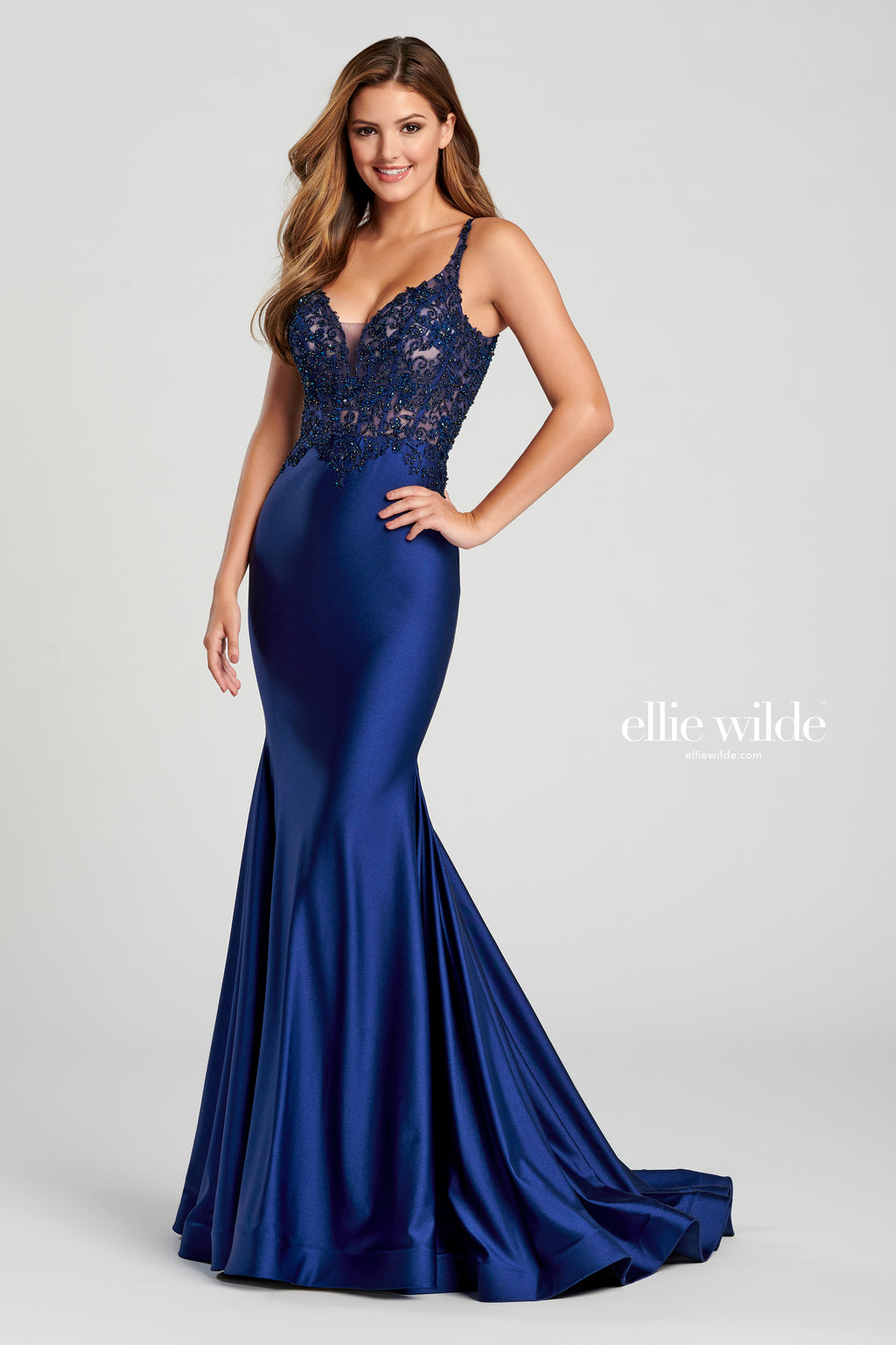 Ellie Wilde Navy Satin Evening Gown - Gissings Boutique
