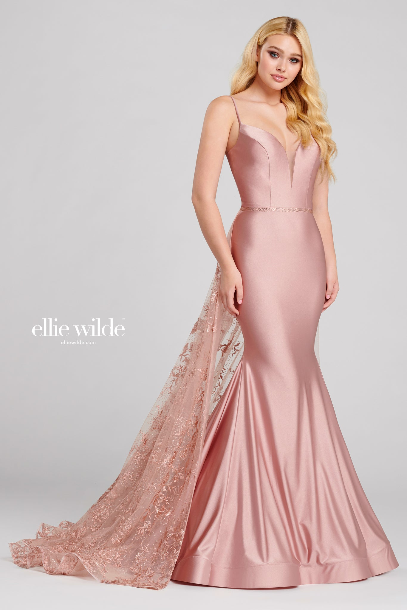 Ellie Wilde Rose Satin Ball Gown - Gissings Boutique