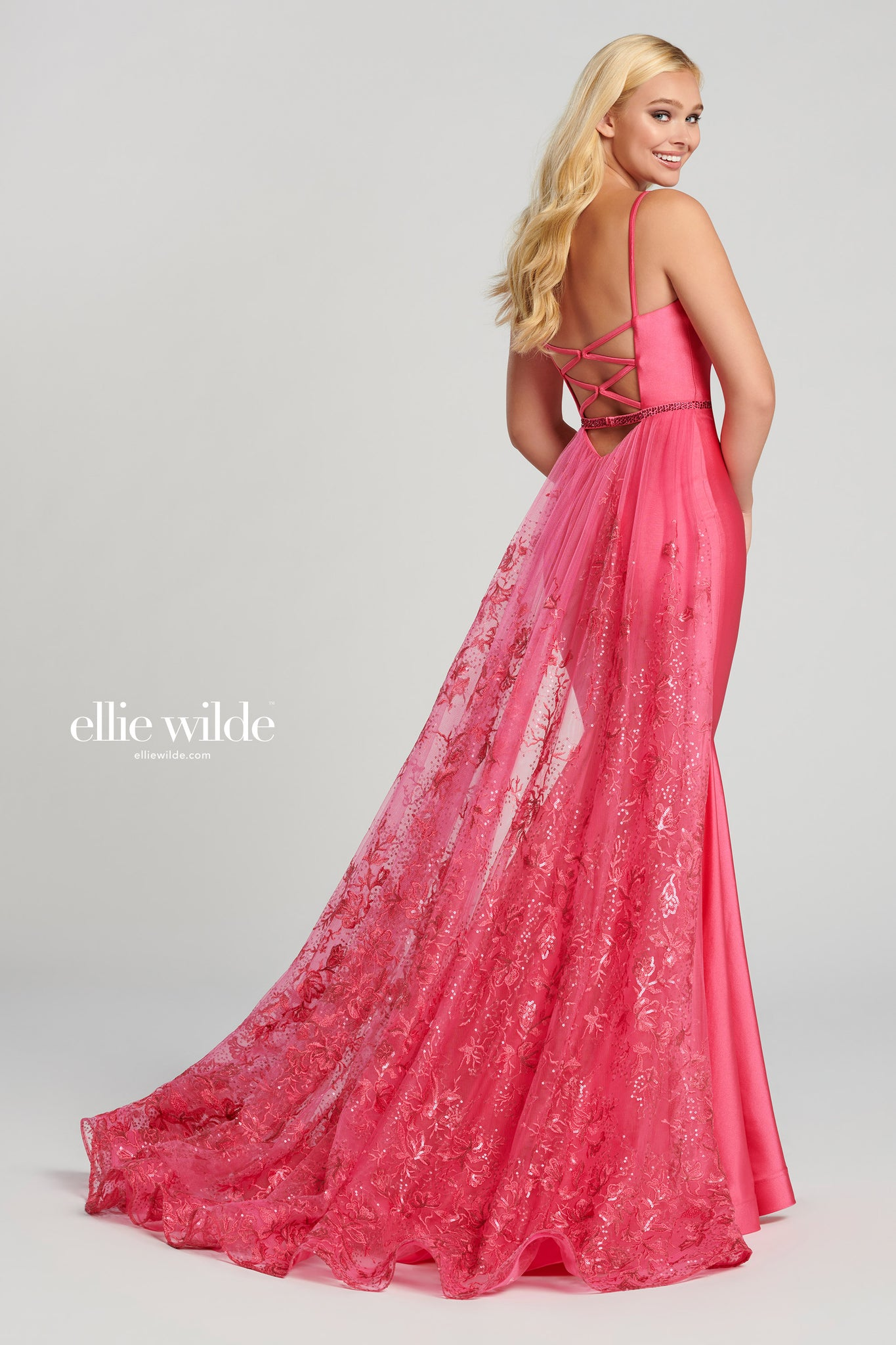Ellie Wilde Pink  Satin Ball Gown