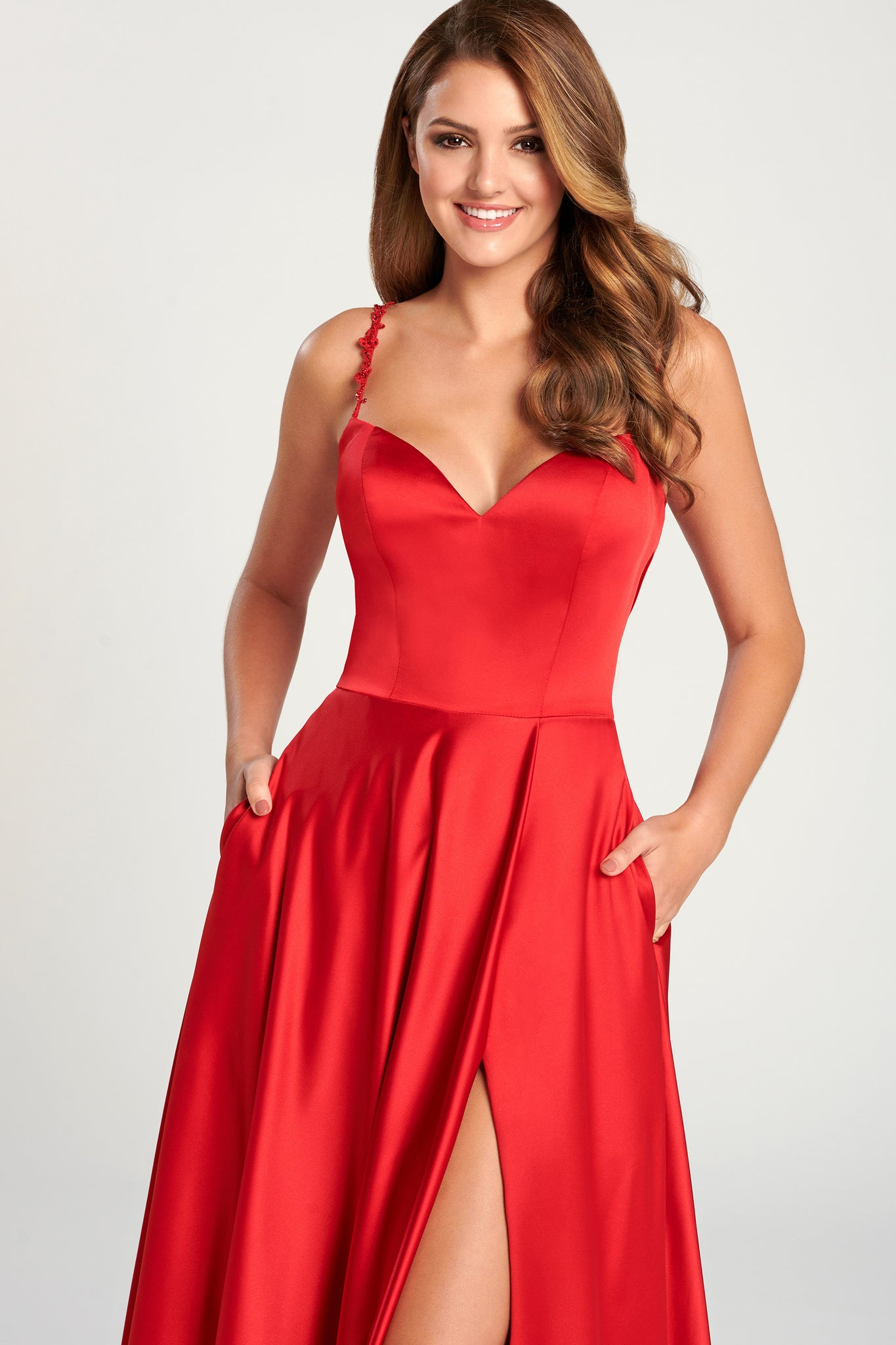Ellie Wilde Ruby Red Satin Evening Gown - Gissings Boutique