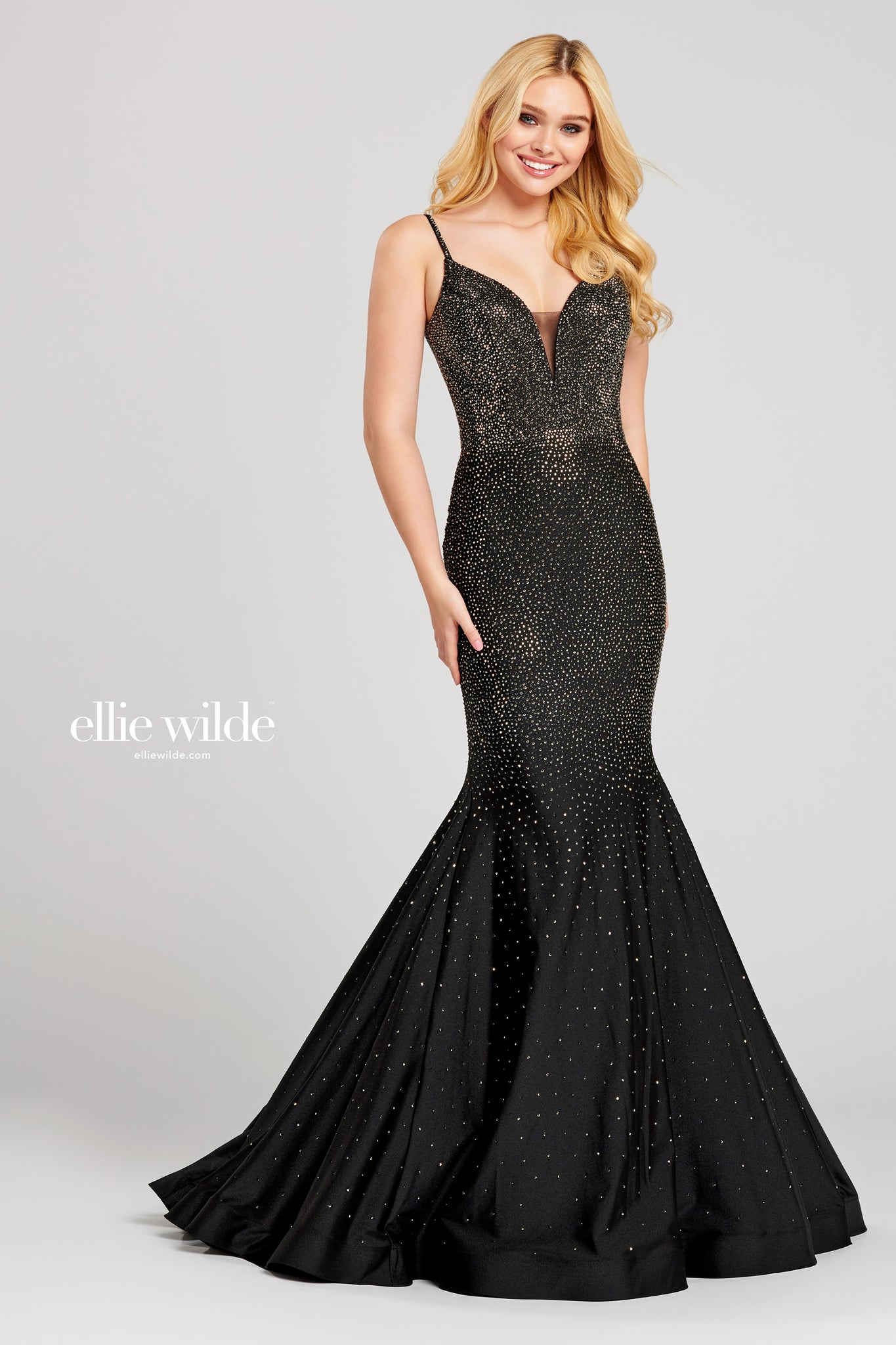 Ellie Wilde Embellished Black Evening Dress