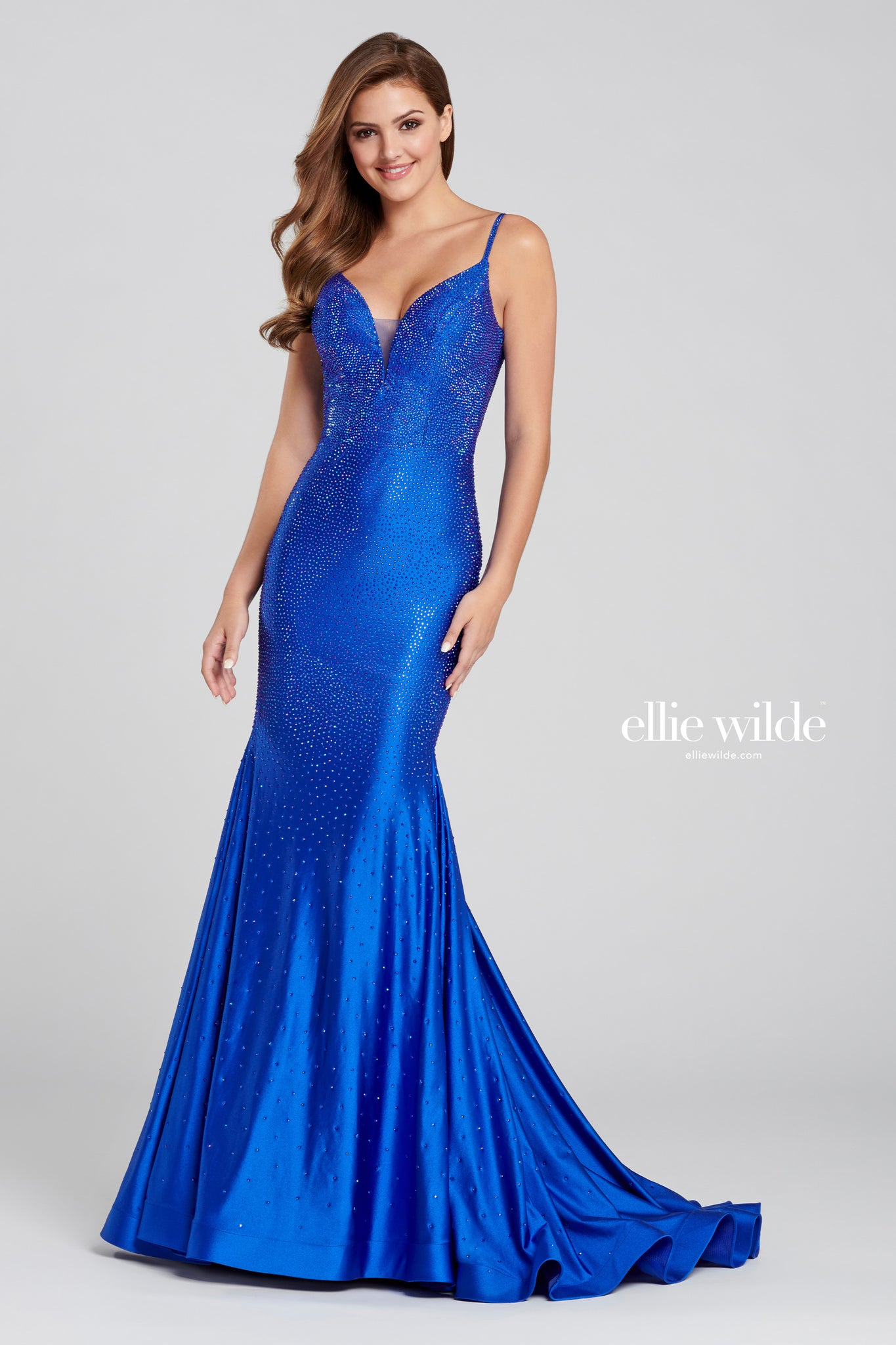 Ellie Wilde Embellished Royal Blue Evening Dress