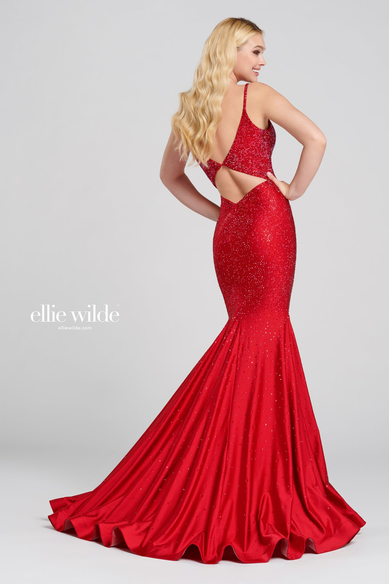 Ellie Wilde Embellished Red Evening Dress - Gissings Boutique