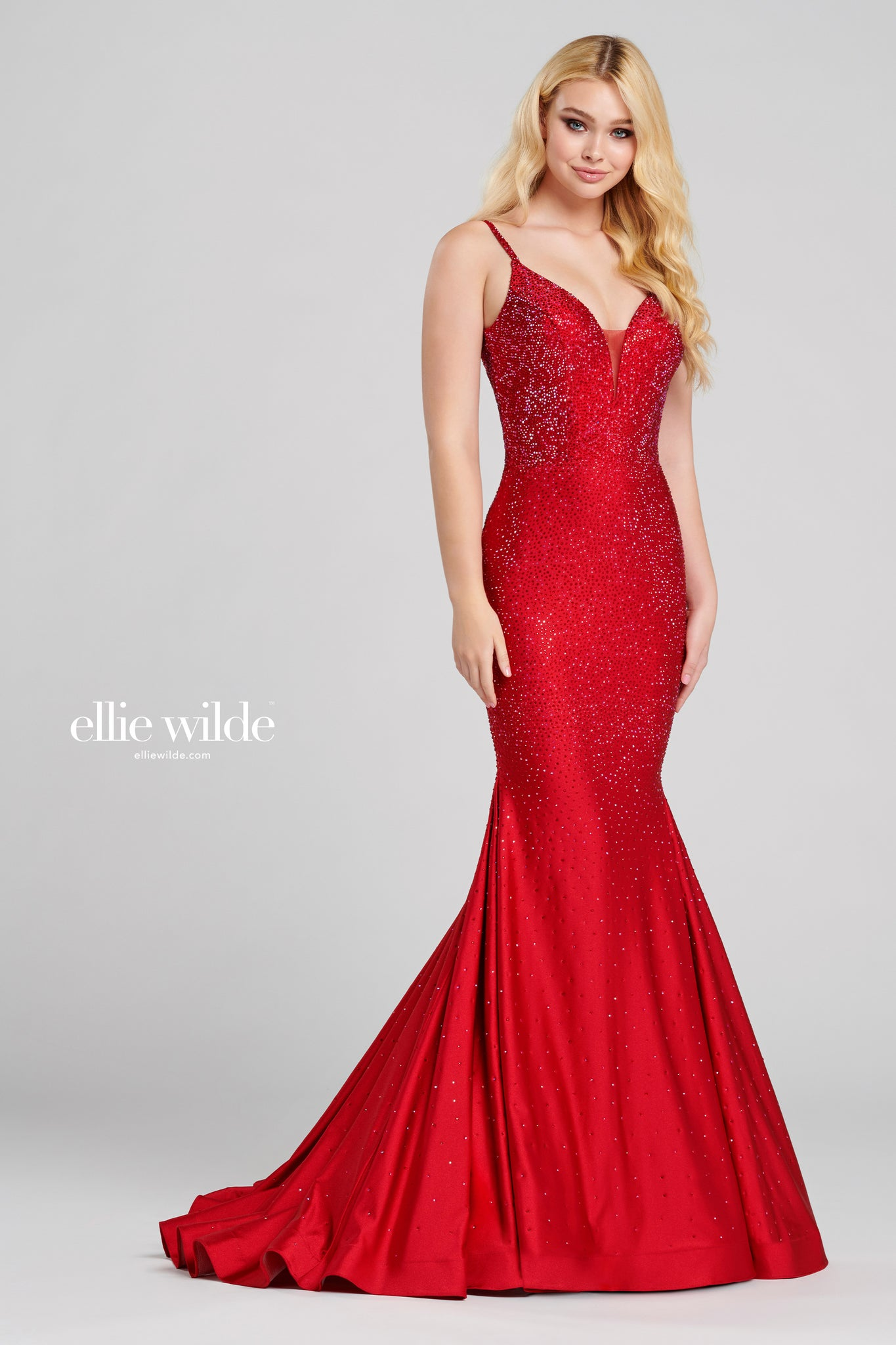 Ellie Wilde Embellished Red Evening Dress