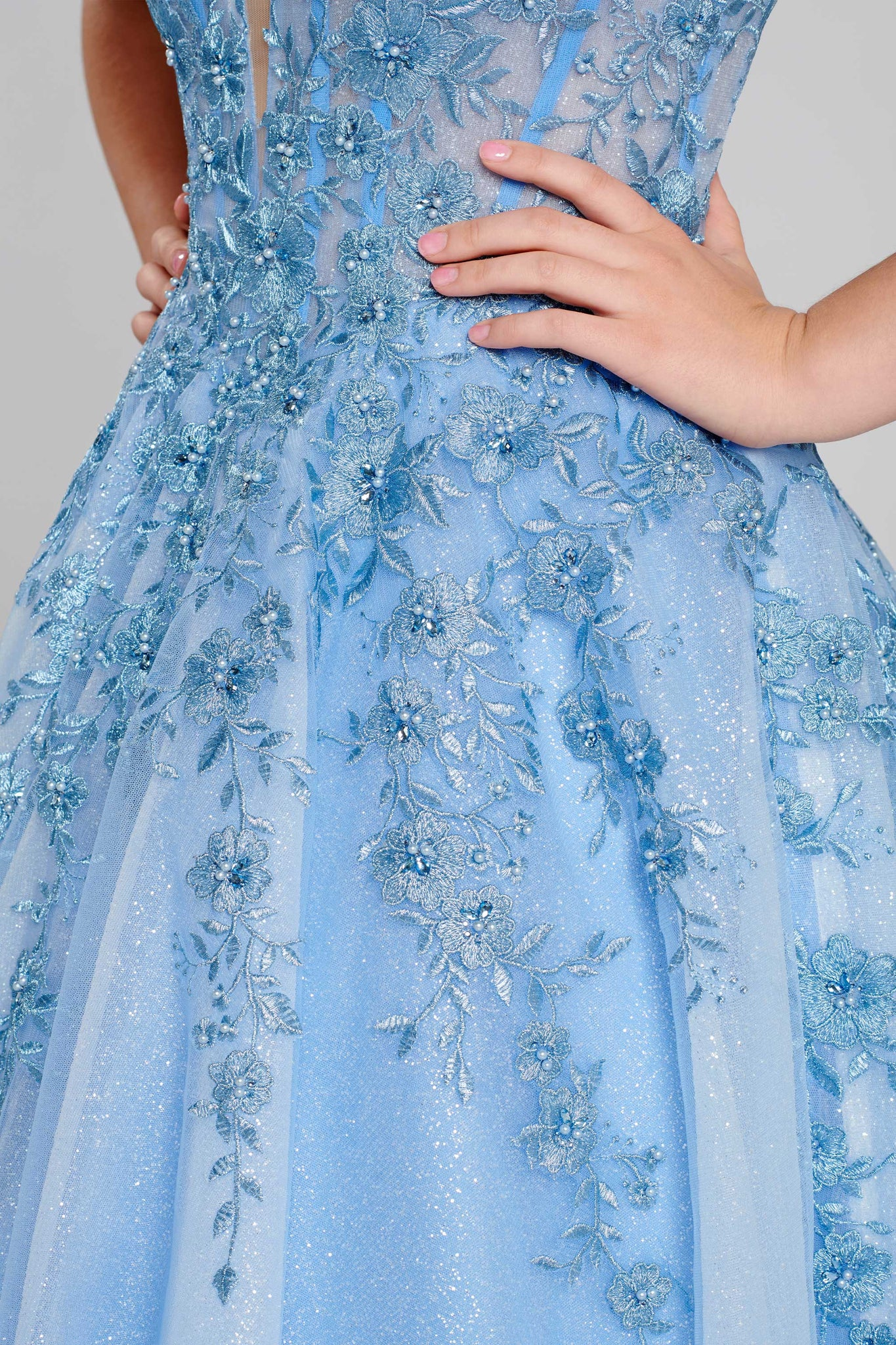 Ellie Wilde Perrywinkle Lace Ball Gown - Gissings Boutique