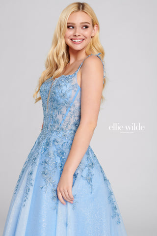 Ellie Wilde Perrywinkle Lace Ball Gown