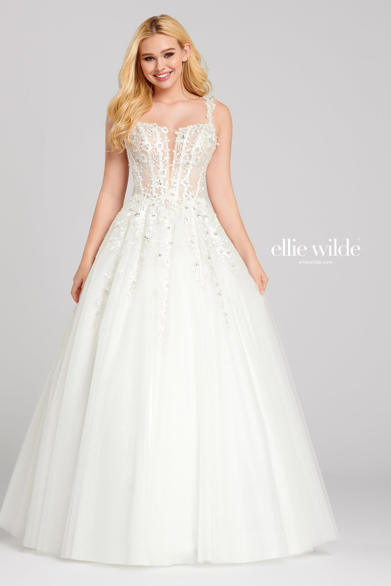 Ellie Wilde White Lace Ball Gown - Gissings Boutique