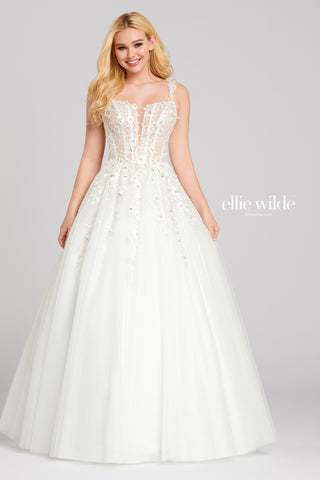 Ellie Wilde White Lace Ball Gown