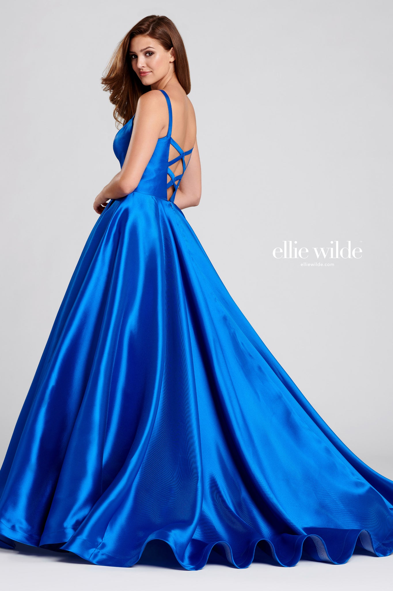 Ellie Wilde Satin Royal Blue Ballgown - Gissings Boutique
