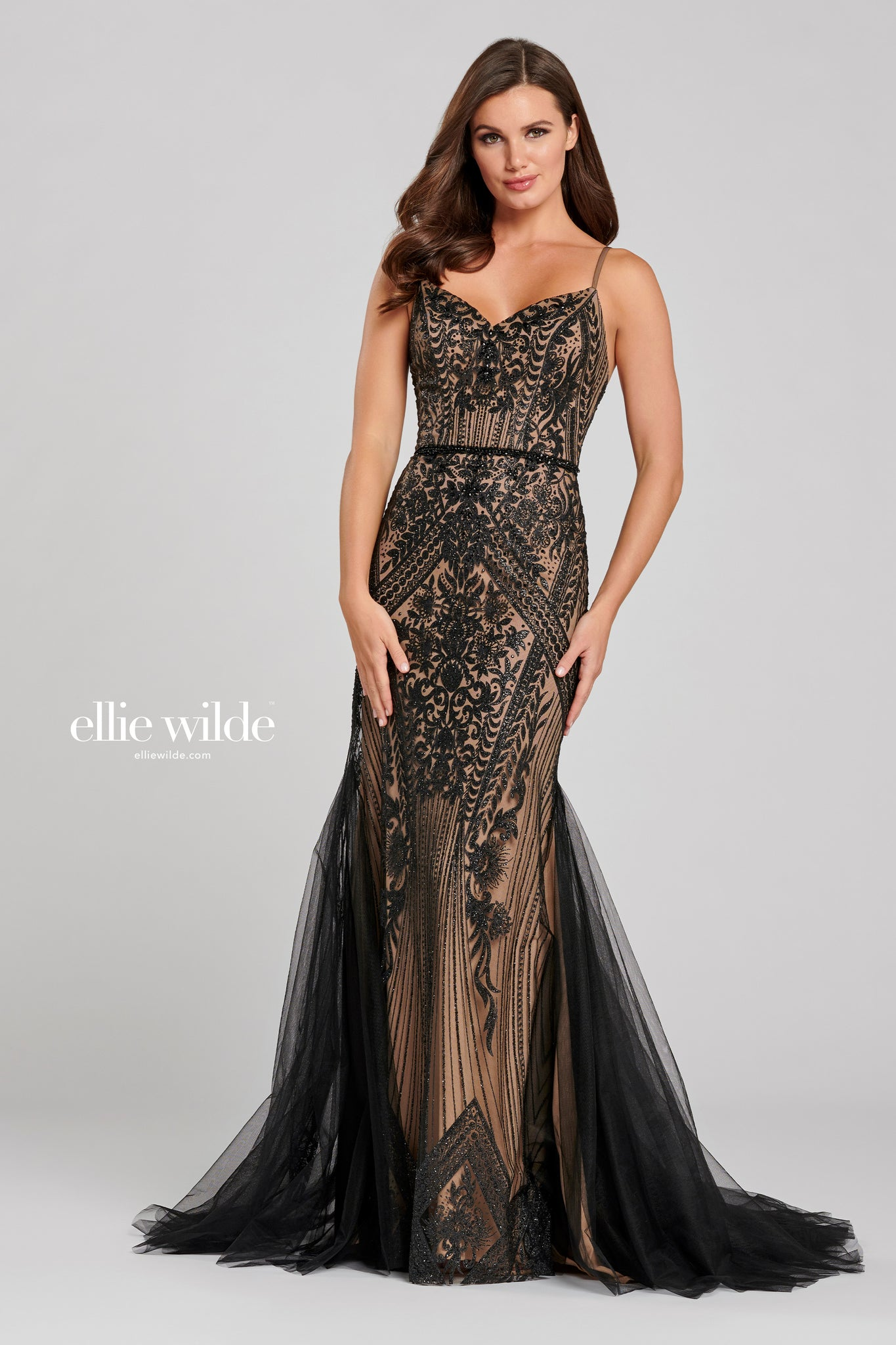 Ellie Wilde Black Chiffon Gown - Gissings Boutique
