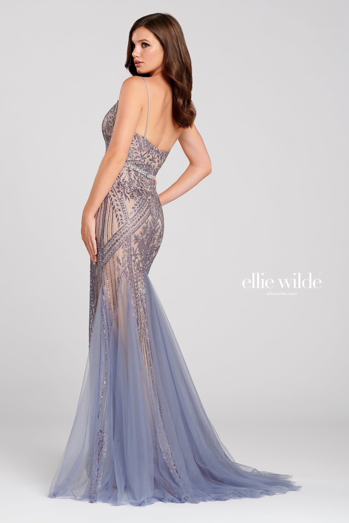 Ellie Wilde Slate Chiffon Gown - Gissings Boutique