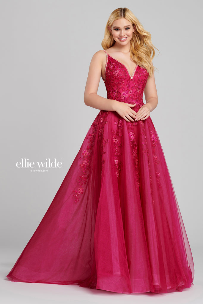 Ellie Wilde Magenta Tulle Prom Gown - Gissings Boutique