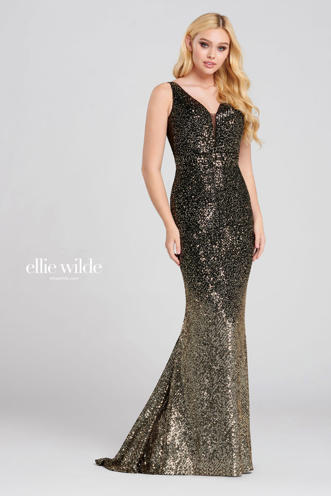 Ellie Wilde Black & Gold Sequin Gown - Gissings Boutique