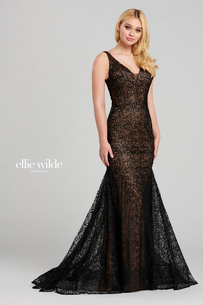 Ellie Black Glitter Evening Gown - Gissings Boutique