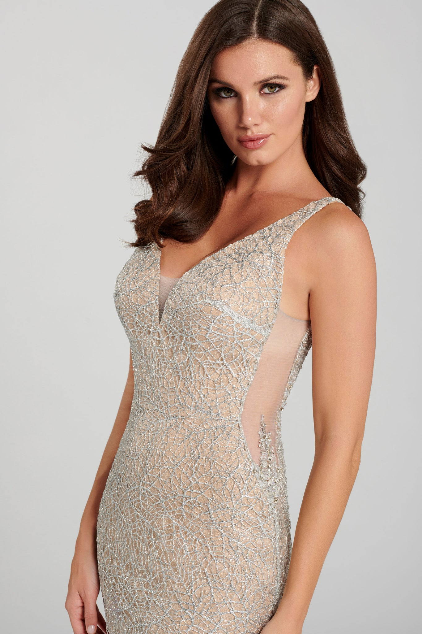 Ellie Wilde Silver Glitter Evening Gown - Gissings Boutique