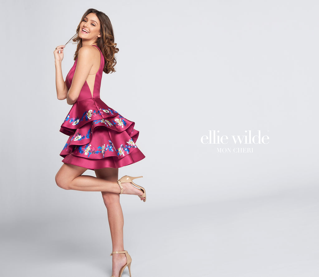 Ellie Wilde Magenta Floral Short Dress - Gissings Boutique