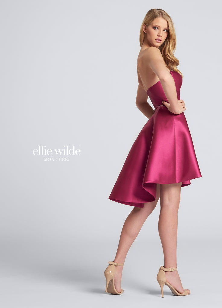 Ellie Wilde Strapless Magenta Dress - Gissings Boutique