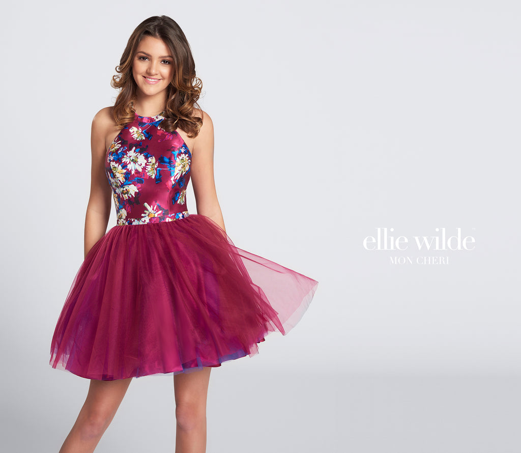 Ellie Wilde Magenta Tulle Short Dress - Gissings Boutique