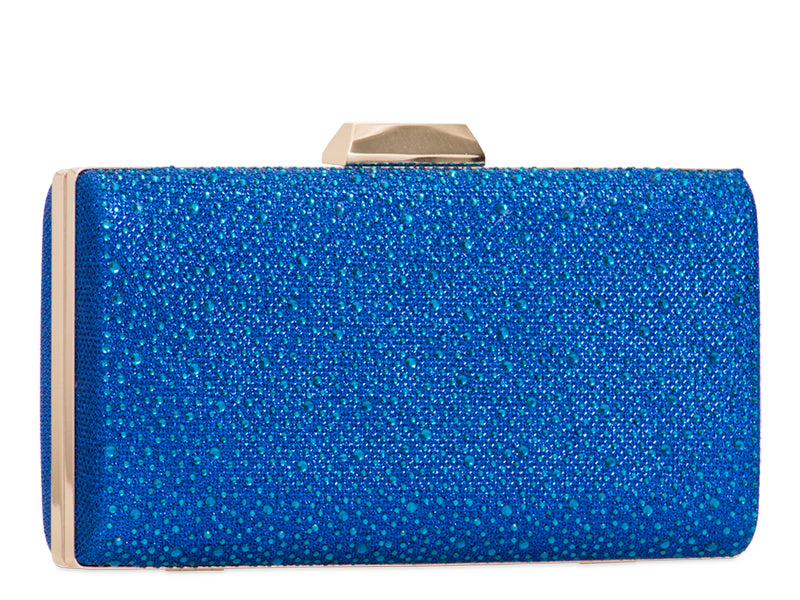 Royal Blue Crystal & Glitter Clutch Bag - Gissings Boutique