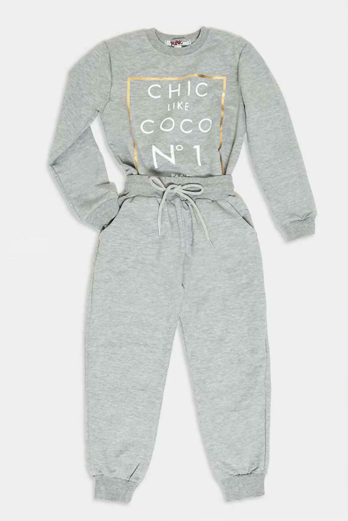 Girls Grey CocoChic Loungewear Set - Gissings Boutique