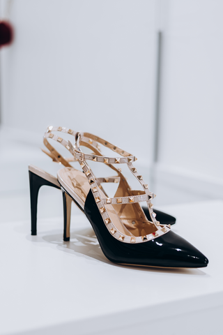 Designer Studded Black & Gold Shoes - Gissings Boutique
