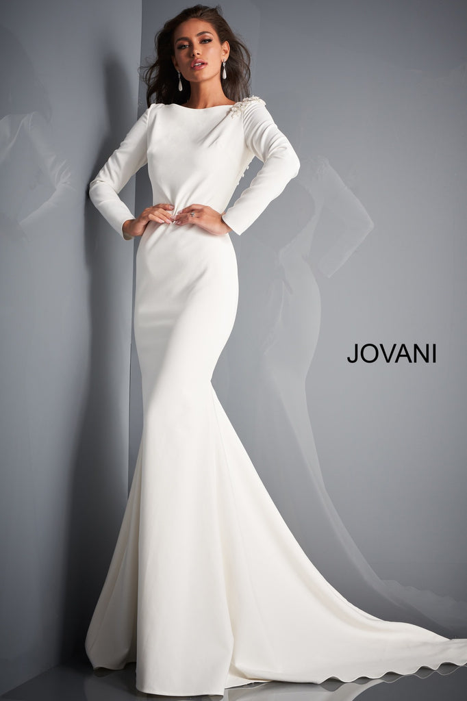 Jovani Ivory Boat Neckline Informal Wedding Gown - Gissings Boutique