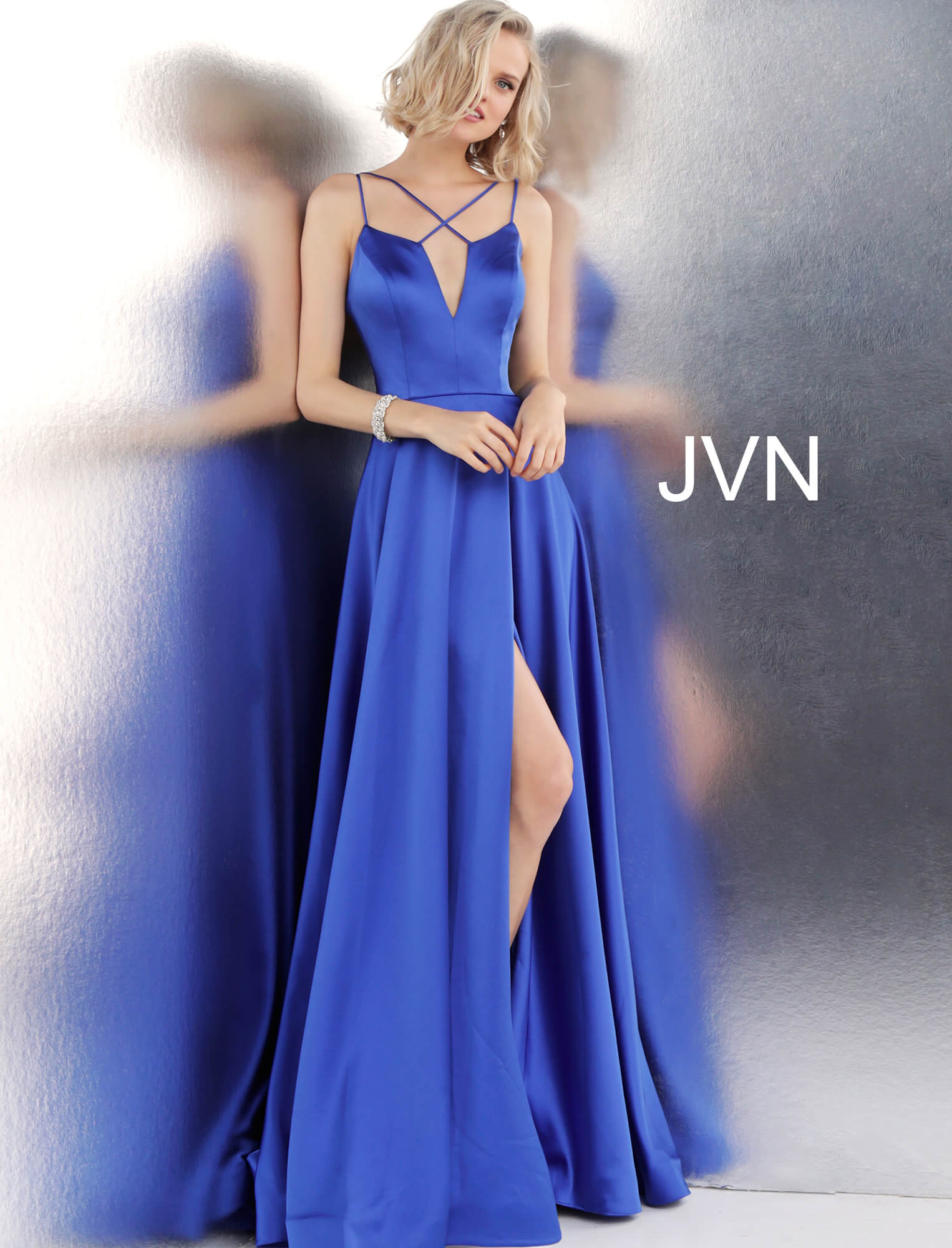 Jovani Blue Satin Gown - Gissings Boutique