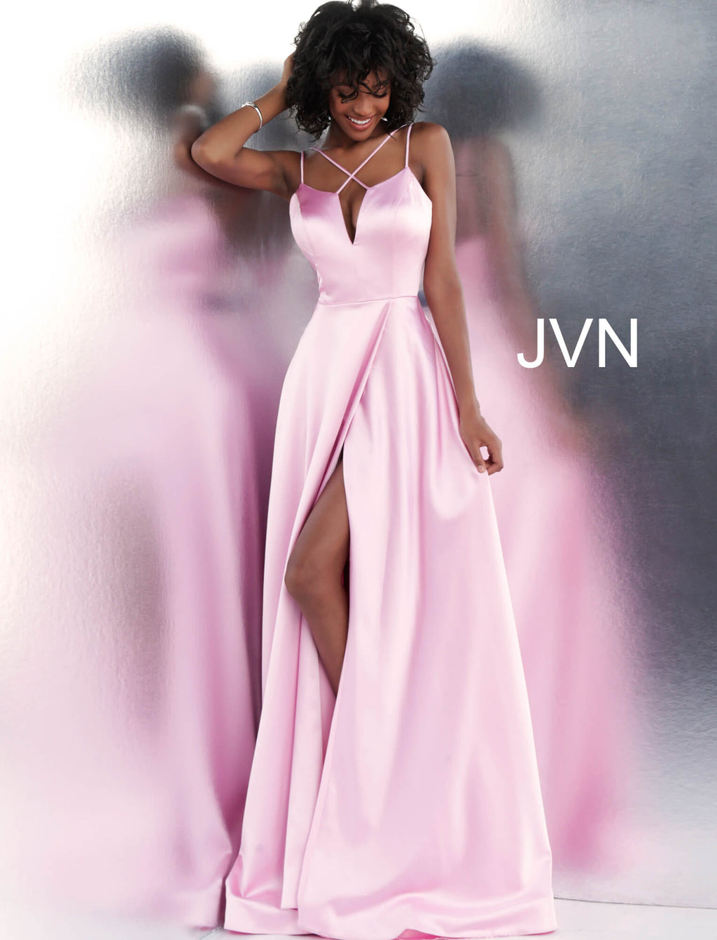 Jovani Pink Satin Gown - Gissings Boutique