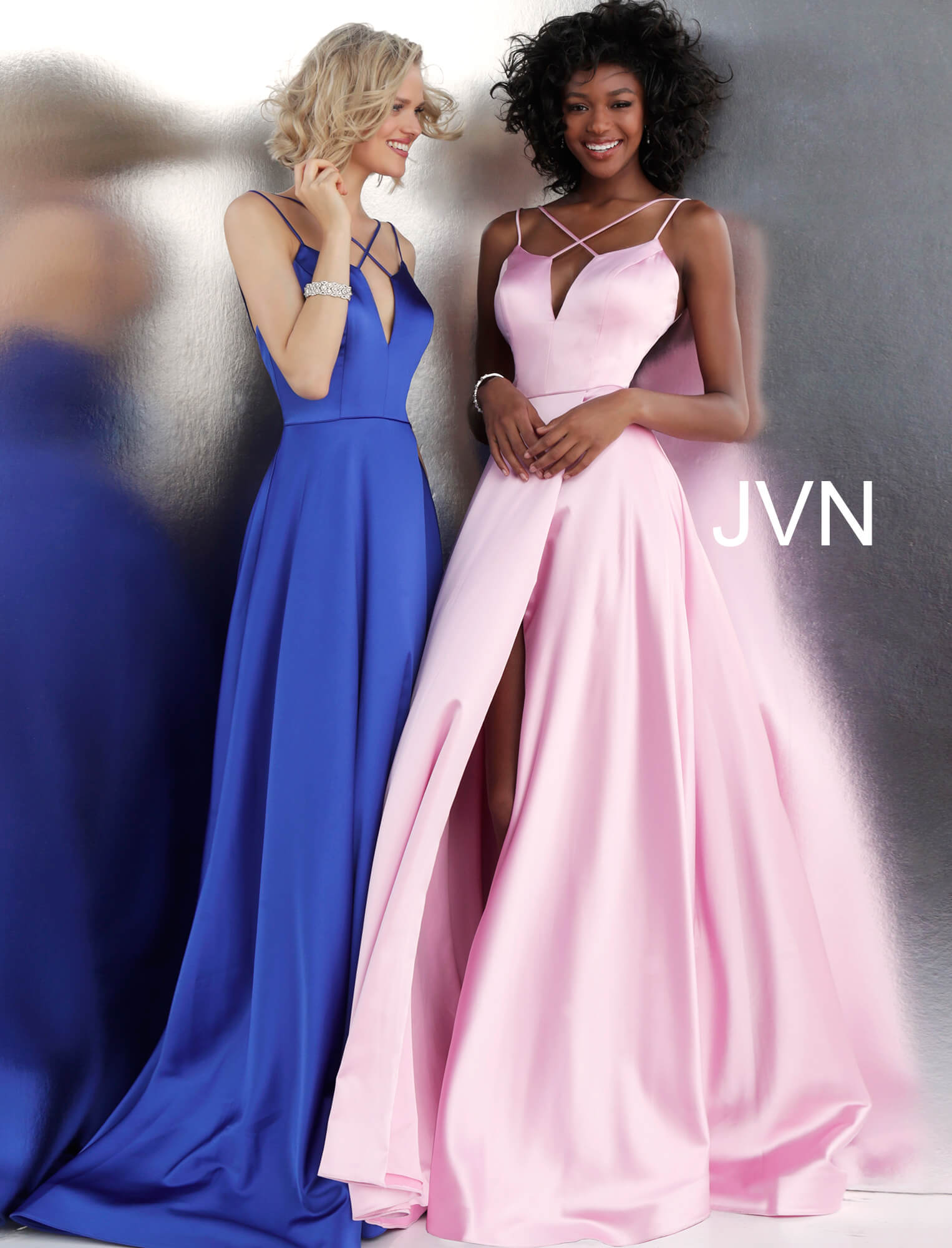 Jovani Blue Satin Gown