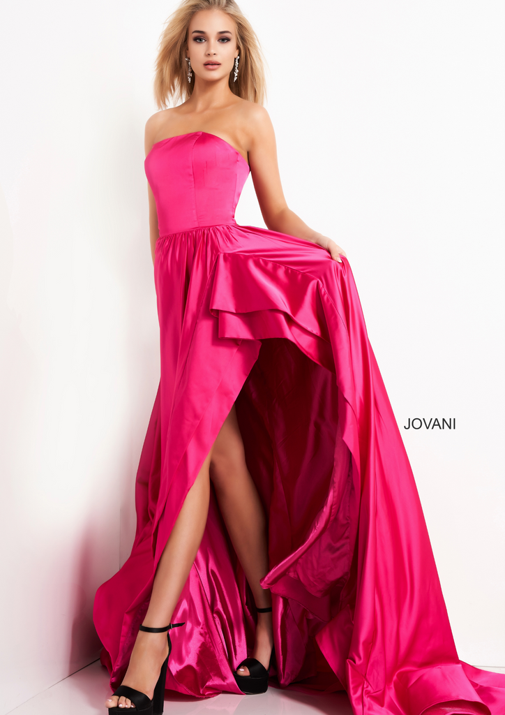 Jovani Fuchsia High Slit Prom Dress - Gissings Boutique